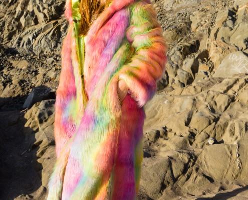 Rainbow fur coat |BohoCoats