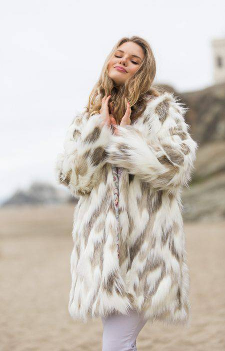 Pastel Girl Burning Man Fur Coat | Boho Coats