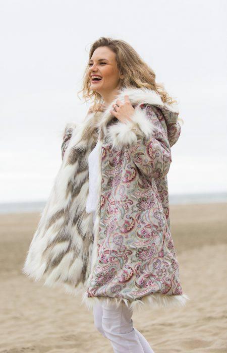 Pastel Girl Burning Man Fur Coat | Boho Coats