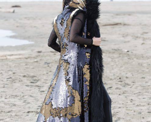 Rockstar black sequence fur | Boho coats