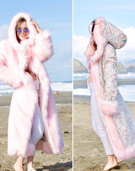 COTTON CANDY FAIRY Fur Coat   Burning Man   Playa Jacket   Mens Costume   Faux fur coat for men   Boho Coats