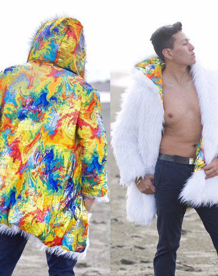 Glitch Smart Burning Man Fur Coat with 300 LEDs (RGB, TCL) | Playa Wear Badass Jacket Glow At night LED Clothes