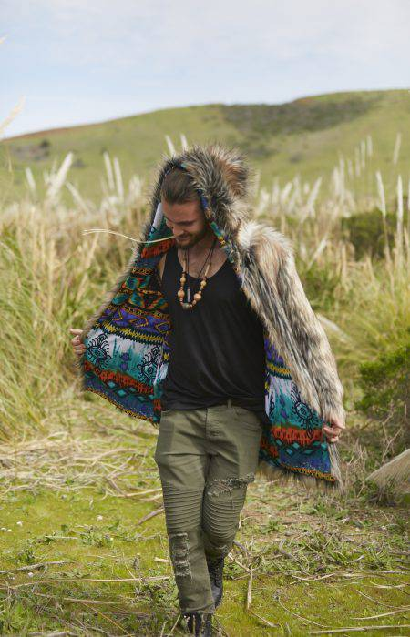 Wolf in Boho Festival Fur Coat