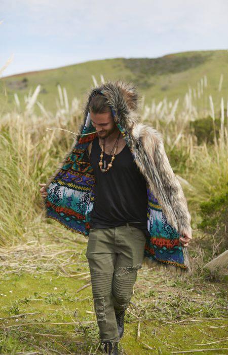 Wolf in Boho Festival Fur Coat