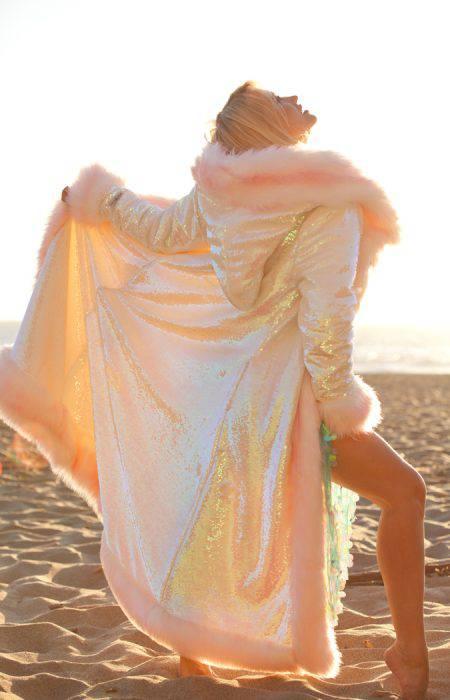 Pink faux fur coat Burning Man Outfit