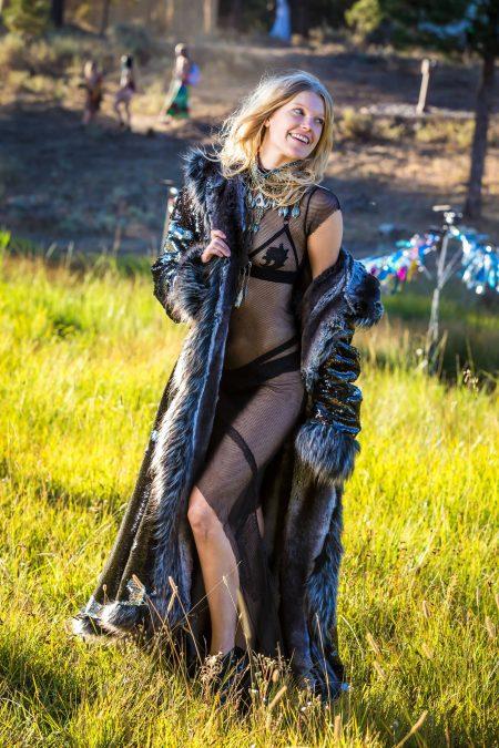 Silver Chinchilla sequins festival fur coat | Boho coats
