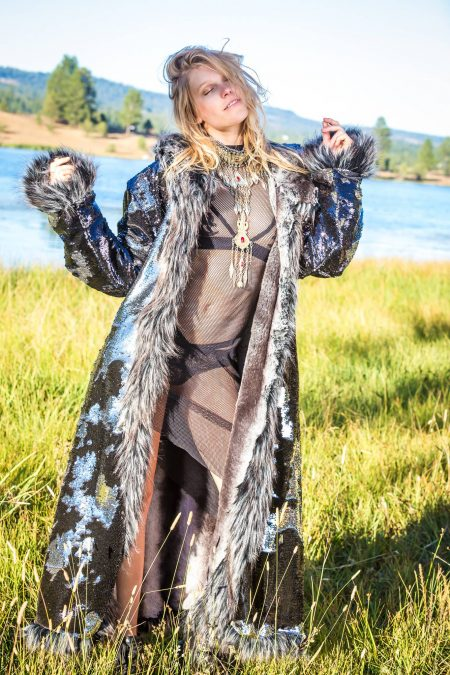 Silver Chinchilla sequins festival fur coat | Boho coats