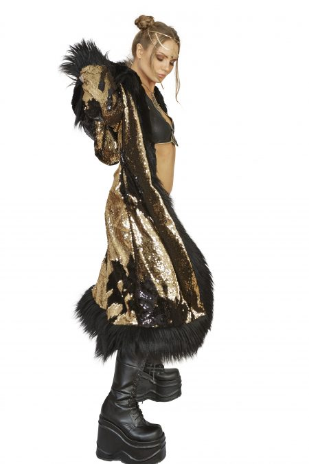 Rockstar Burning man fur coat