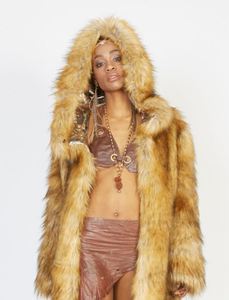 Safari fluffy faux fur coat