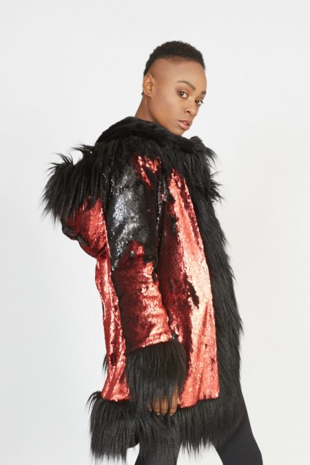 Red Passion faux fur coat