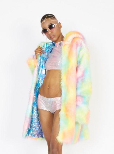 Unicorn faux fur coat