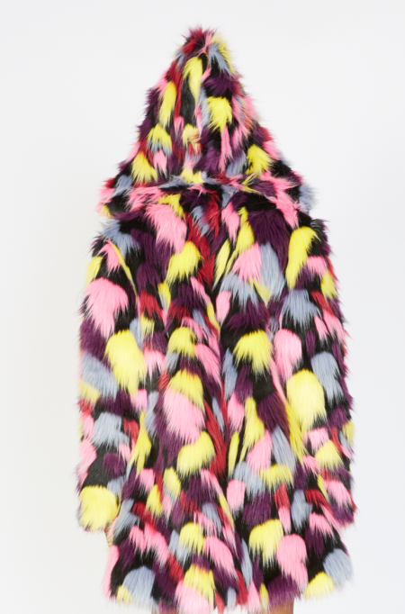 Fashionista Colorful Faux Fur Coat