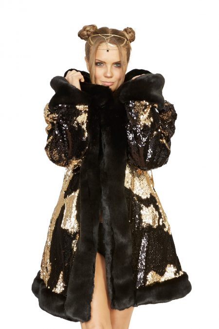 Golden Dragon faux fur coat