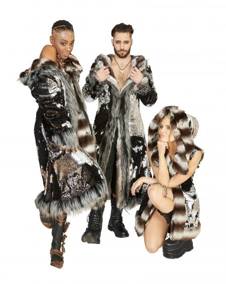 Silver Dragons Faux Fur Coats