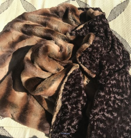 Mocha Embrace faux fur throw blanket