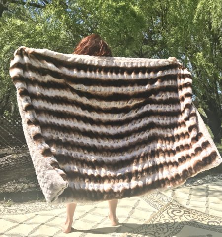 Brown embrace faux fur throw blanket
