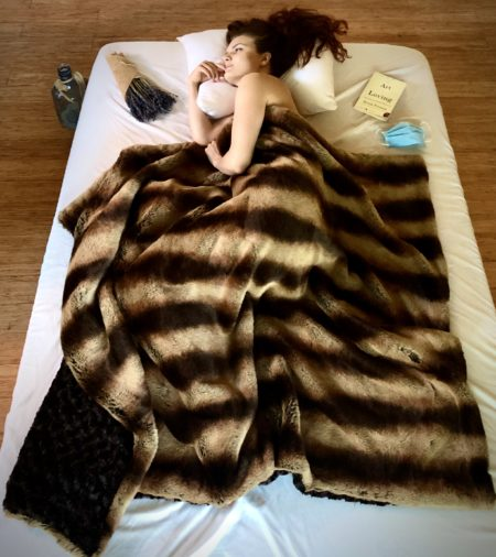 Mocha Embrace fur throw blanket