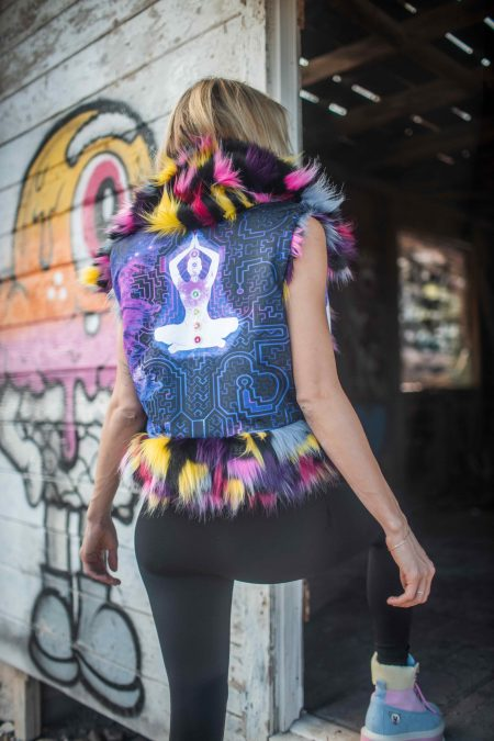 7 CHAKRAS Colorful Faux Fur Vest